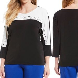 Calvin Klein Color Block Plus Size 3x Knit Top NEW